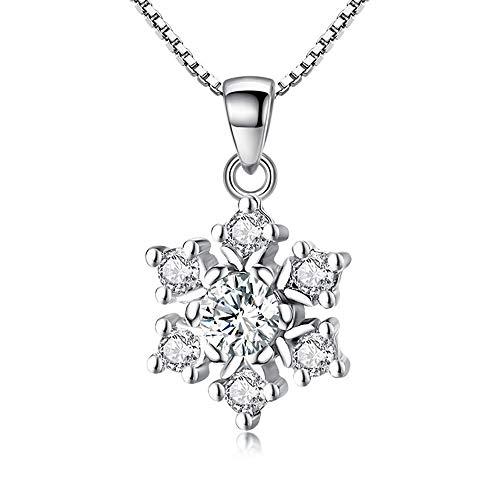 SUIWO Collar de Cadena Pendiente de Las Mujeres del Collar del Cuello Cadena de Las Mujeres Collar de Plata Collar niñas Colgante de Diamante Blanco Plateado Cobre Flor de Hielo del Copo de Nieve del