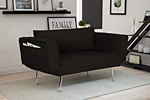 SMALL SPACE SOLUTION | The Novogratz Leyla Loveseat is the perfect modern solution to your small space needs; great for condos, apartments, dorms and more. LOVESEAT TO SLEEPER | With its multifunctional and innovative design, the armrests fold down t...