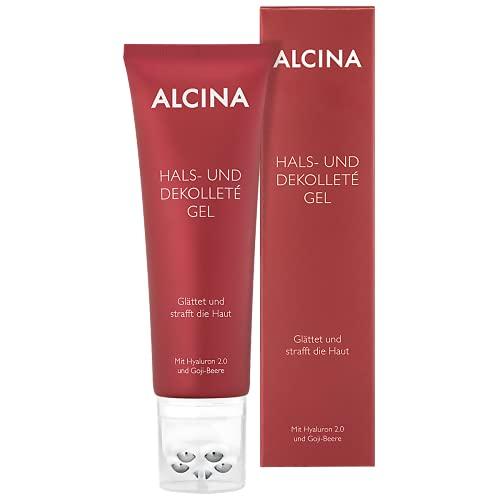 ALCINA Hals- und Dekolleté Gel - 1 x 100 ml - Glättet Falten und strafft die Haut - Feuchtigkeitscreme mit Hyaluron 2.0 und Goji-Beere, inkl. Massageapplikator