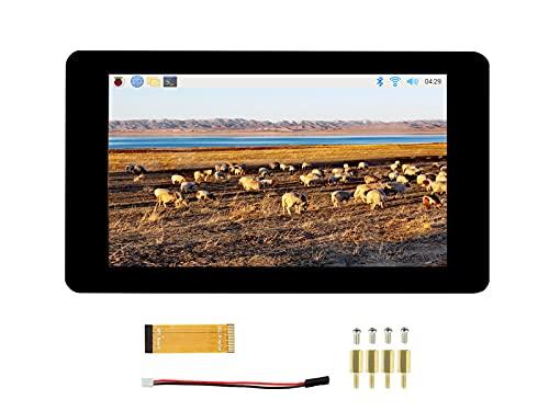7 pollici Touch Screen DSI Display 800x480 TFT LCD Schermo Monitor per Raspberry Pi 4B/3B+/3A+/3B/2B/B+/A+, Pannello Tattile Capacitivo in Vetro Temperato, Fino a 5 Punti di Tocco