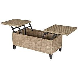 Outsunny Table Basse de Jardin Style Cosy Chic – Table Basse relevable – métal époxy résine tressée Imitation rotin…