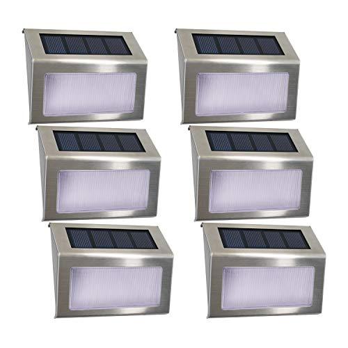 [6 pacchi] Luce per scale solare, Easternstar 4 LED Luci solari da esterno Inossidabile Acciaio impermeabile Lampada per recinzione Giardino Scala Per