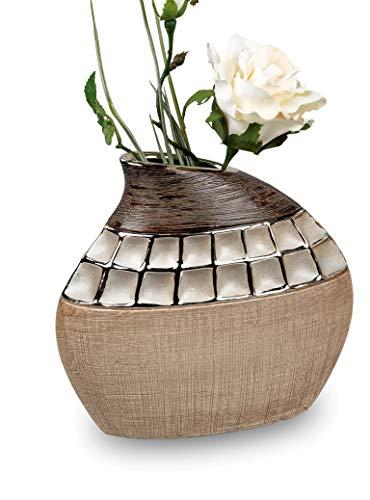 Formano 1 Stück Vase Creme-Braun 20 x19 cm aus Keramik- Dekoration für EIN schönes Zuhause