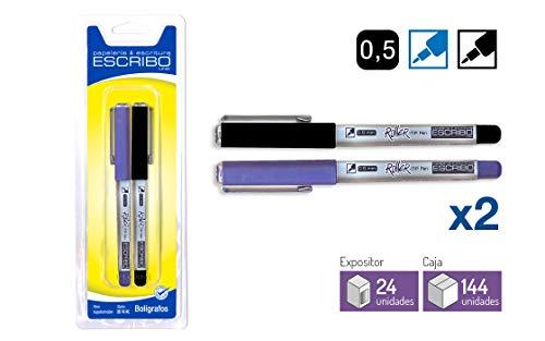Boligrafos con punta 0,5 mm - Colores Azul y negro - Con Tapon con Pinza para Colgar - Modelo ROLLER - Pack de 2