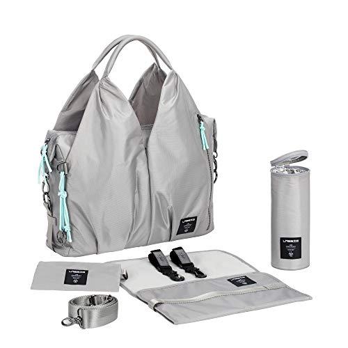 LÄSSIG Baby Wickeltasche nachhaltig inkl. Wickelzubehör nachhaltig produziert/Green Label Neckline Bag, grau/silbergrau