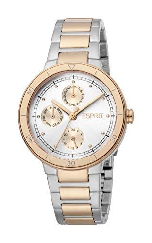 Esprit ES1L226M0055 Yumi Uhr Damenuhr Edelstahl 5 bar Analog Datum Bicolor