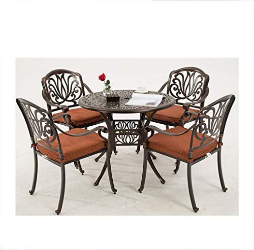 AI CHEN Mesas y sillas de jardín Exterior Balcón Exterior Jardín Patio Mesas y sillas Combinación de Cinco Piezas Metal Hierro Aluminio Fundido Mesas y sillas de Ocio Cojines Libres