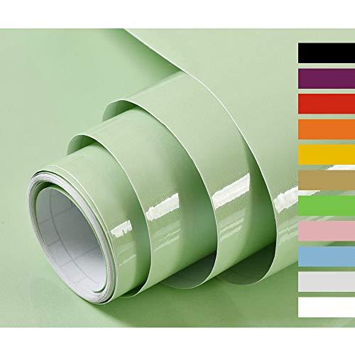 Hode Selbstklebende Klebefolie Schrankfolien Selbstklebend Folie für Möbel Küche Handarbeit Wasserdicht Vinyl Dekorfolie Hochglanz Mit Glitzerpartikel Effekt Grün 40cmX300cm
