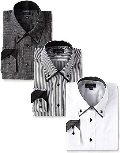 【サイズ:3L】訳あり 特価 3枚SET 人気の モノトーン 形態安定 ワイシャツ 3枚組 ボタンダウン 白 ホワイト グレー ストライプ ドビー 長袖 レギュラカラー クールビズ カッターシャツ Yシャツ S M L LL 2L 3L NP後払い コンビニ後払い アウトレット セール 50408-b