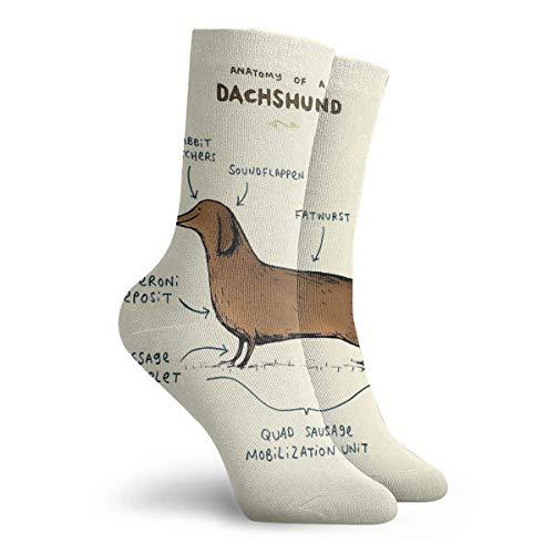 NGMADOIAN sokken anatomie van een teckel schilderij Svetlana Novikova Athletic Long Crew sokken voor mannen vrouwen 30 cm