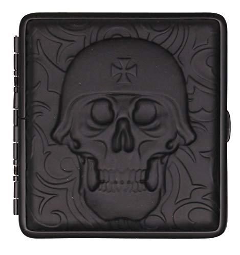 Zigarettenetui schwarz Leder Totenkopf mit Bügel - je für 20 Zigaretten (Normale Länge 85mm) (Helm - schwarz)