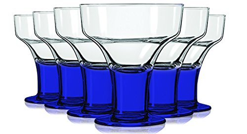 Libbey Cobalt Blue Margarita/Dessert Glasses with Colored Accent - 12 oz. Set of 6- Additional Vibrant Colors Available by TableTop King