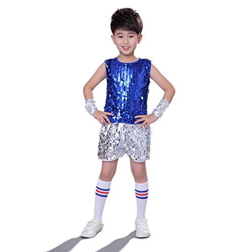 MoyuqiTM Hip-Hop-Tanzkostüm für Jungen, Jungen, Street Dance Kleidung, blau, 150 cm