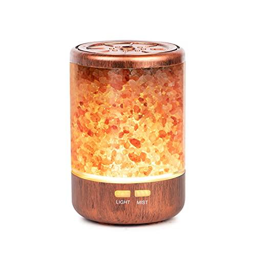 Autumn Rain アロマ加湿器 天然岩塩内蔵 150ml容量 超音波式 空気加湿 7色LEDライト 雰囲気作り 超静音 空焚き防止 寝室やオフィスに適合