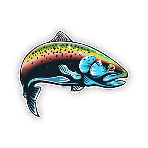Sticker-Designs 8cm! Klebe-Folie Wetterfest Made-IN-Germany Regenbogen Gold-Forelle Fisch bunt Meer Angeln Z247 UV&Waschanlagenfest Auto-Aufkleber Profi-Qualität! AUCH OHNE Rand!