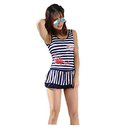 KHHGTYFYTFTY Conjunto de Rayas Impreso Top Pantalones Trajes de baño Trajes de Dos Piezas de baño de Mujeres de la Manera de 152-160 Altura