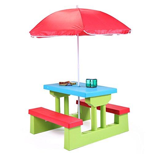 Sandinrayli Kids Playful Picnic Table w/Umbrella Plastic Folding Outdoor Children Set Play Bench
