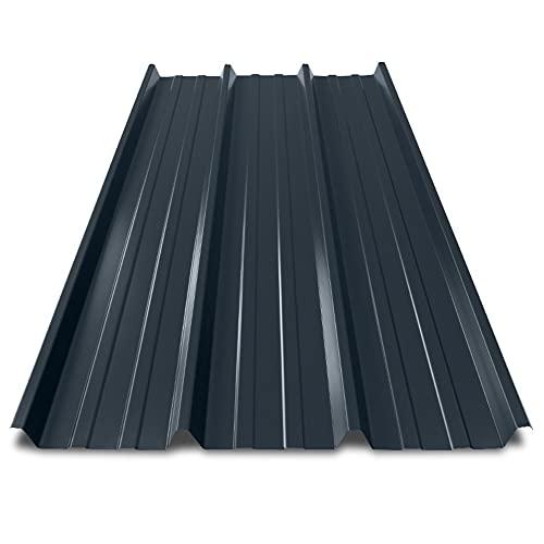 Tôle Bac Acier 0.63 mm pour Couverture Métallique - 2100 x 1000 x 45 mm - Axel - Revêtement Polyester 25 µm - Grande Résistance aux Intempéries - Gris Anthracite - RAL 7016 - BACACIER