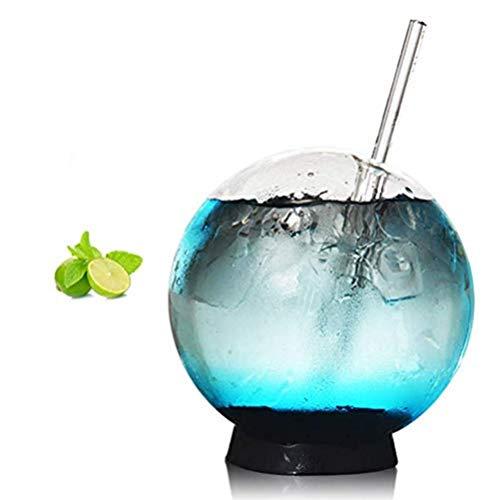Kristallkugel - kreative sphärische Eistee Tasse mit Strohhalm - Cocktail Glas Tassen - Elegante, Schnaps oder Bourbon Becher Whisky Wein Valentinstag