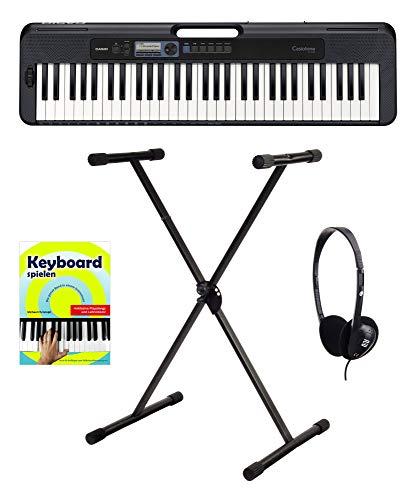 Casio CT-S300 Keyboard Starter Set (modernes Keyboard mit 61 anschlagdynamischen Tasten inkl. X-Keyboardständer, Kopfhörer & Keyboardschule) Schwarz
