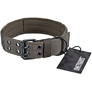 OneTigris Military Adjustable Dog Collar with Metal D Ring & Buckle Available in 4 Colors & 2 Sizes (L, Ranger Green)