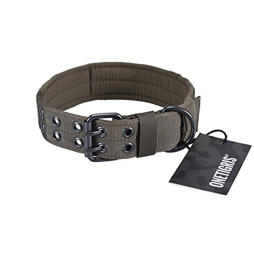 OneTigris Military Adjustable Dog Collar with Metal D Ring & Buckle 2 Sizes (Ranger Green, M)
