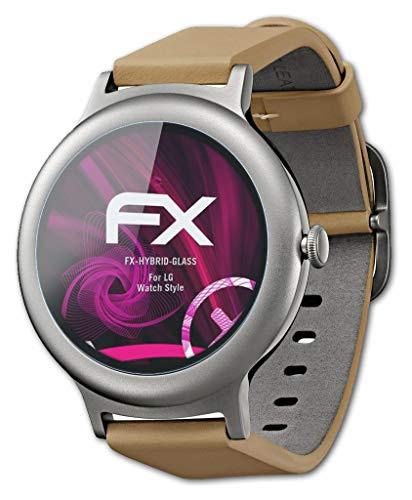 atFoliX Glasfolie kompatibel mit LG Watch Style Panzerfolie, 9H Hybrid-Glass FX Schutzpanzer Folie