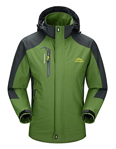 YSENTO Mens Lightweight Waterproof Jacket Windproof Outdoor Camping Hiking Mountain Jacket Coat with Hood(green,XL)