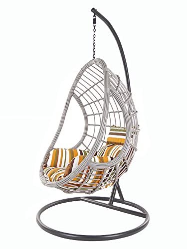 Kideo® Juego completo: sillón colgante grande con estructura y cojines, para interior y exterior, polirratán (cojín: nido de rayas retro 8640), cesta y estructura: gris.