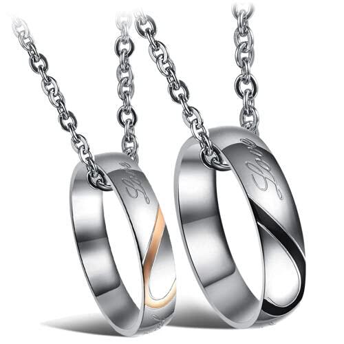 OUTLETISSIMO Juego de 2 collares con colgante de 2 anillos, alianza con corazón real Love para hombre y mujer ET117