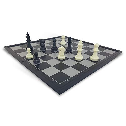 vidro24 Deluxe Schachspiel - 3 in 1 kompaktes Reisespiel-Set für unterwegs - magnetisch-e Spielfiguren Schachfiguren - Box einklappbar - Schachbrett Dame Backgammon für Kinder