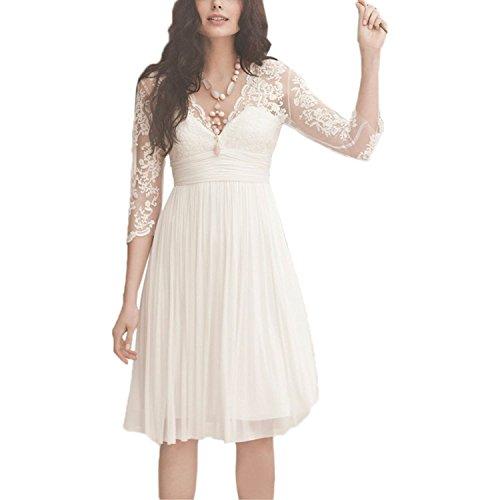 Beyonddress Damen Chiffon Hochzeitskleider Spitze Kurz Brautkleider mit Ärmeln Brautmode V-Ausschnitt Brautjungferkleider(Weiß,50)