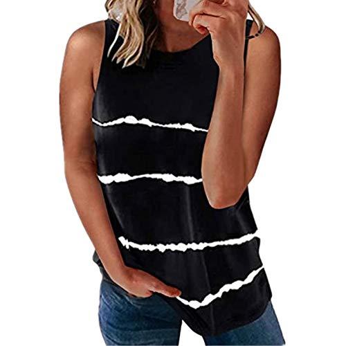 Magliette Casual a Maniche Corte da Donna Camicetta e Top con Nodo a Blocchi di Colore Carino Felpa Estiva daDonna Magliette Manica Corta Donna T-Shirt in Cotone(Nero:XL)