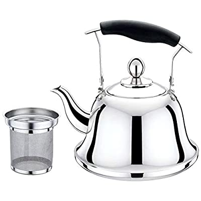 YFASD Whistling Tea Kettle Teakettle Stove Handle Surgical Stainless Steel Teapot for All with Thickness of Up to 06mm Sturdy and Durable Resistant High Temperatures Corrosion,1L