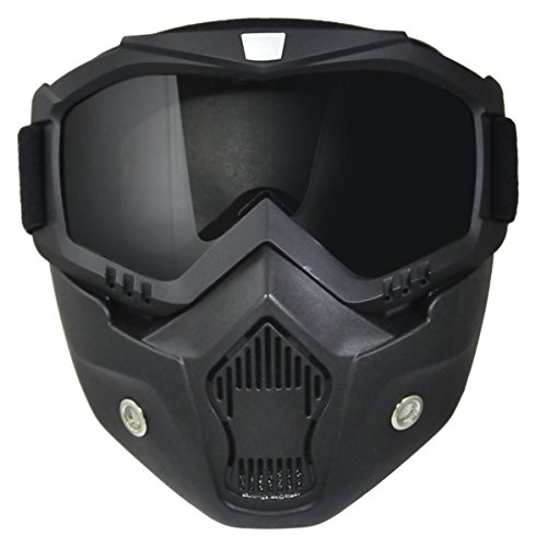 TORC T50 MASK Unisex-Adult Goggle Mask for All Open Half Face Helmets (Black, One Size)