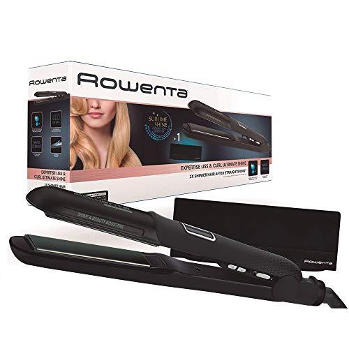 Rowenta Liss & Curl Ultimate Suhine SF6221 - Plancha de pelo con doble salida Iónica, placas aluminio con recubrimiento de nanocerámica, función 3 en 1 alisado, ondulado y rizos adecuados