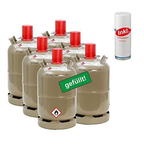CAGO 6X Propan-Gas-Flasche 11 kg gefüllt, voll, inkl. Lecksuchspray für Camping, Gasgrill, Gaskocher