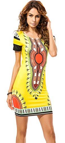 Vestido amarillo corto estilo africano