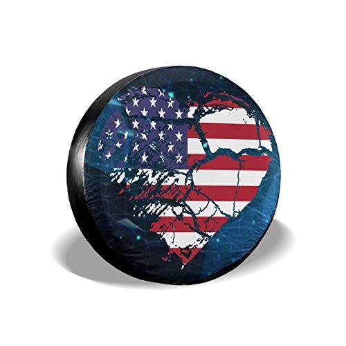 BI HomeDecor Spare Tire Cover,I Love USA Tire Cover, Cubiertas De Rueda Adaptables De Temporada para Rueda De SUV Automática,70-75cm