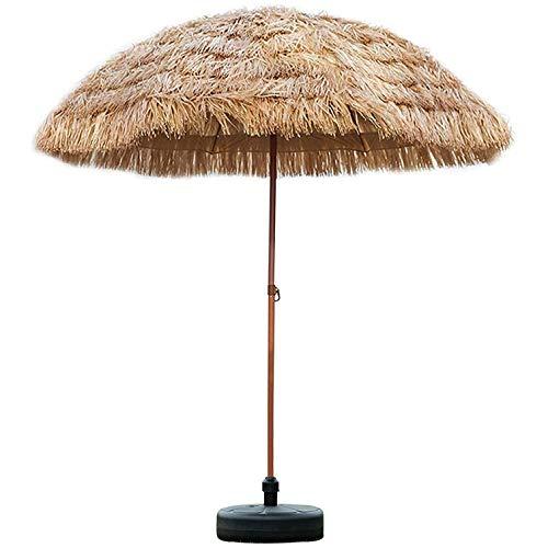 Sombrilla redonda para patio al aire libre de 2,4 m / 8 pies, sombrillas hawaianas de palapa Hula con base, sombrilla de jardín, cubierta de piscina inclinable, sombrilla de playa con techo de paja