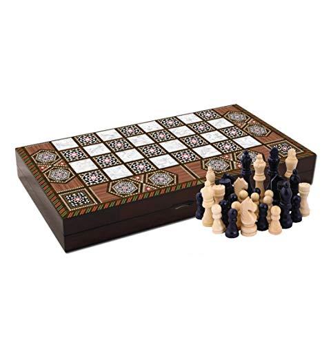 Massive Pearl Wood Magic Star Backgammon y juego de ajedrez turco Premium juego de mesa – Serie especial, madera,