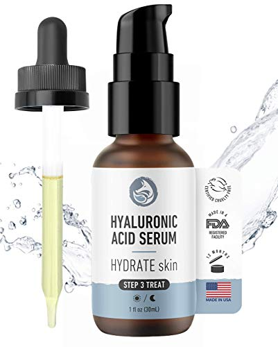 Hyaluronic Acid Face Serum - Hydrating Anti Aging Facial Serum - For Face and Neck - With Vitamin C and E, Green Tea, Jojoba Oil - Natural and Organic - 1 Oz by Foxbrim Naturals