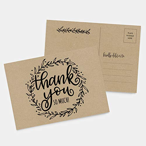 50 4x6 Rustic Kraft Thank You Postcards Bulk Set, Floral Wreath Calligraphy Note Card Stationery Set, Blank Thank You Note Cards for Wedding, Bridesmaid, Bridal or Baby Shower, Teachers, Business