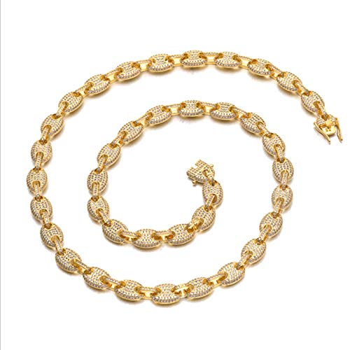 Epinki 46-61CM Chapado en Oro Collar Hombre Granos de Café Circonita Collar de Cadena