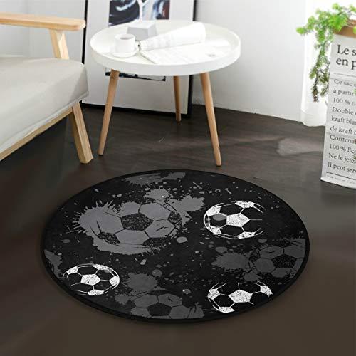 Mnsruu Fußball, Wasserfarben, rund, für Wohnzimmer, Schlafzimmer, 92 cm, Schwarz