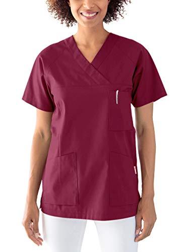 CLINIC DRESS Schlupfkasack Kasack Damen für Krankenpflege und Altenpflege 50% Baumwolle 95 Grad Wäsche Bordeaux XL