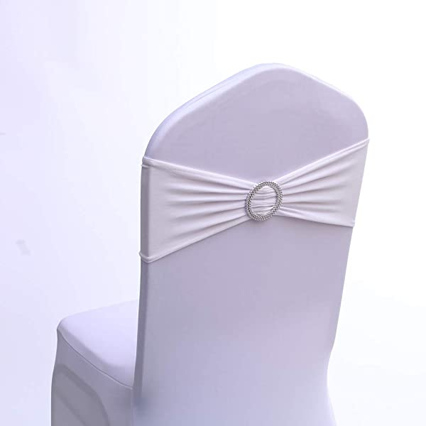 BrightDay 100PCS Stretch Wedding And Party Chair Decorations Chair Bands With Buckle Spandex Chair Sashes Bows Bands For Banquet Ceremony Reception 13Colors White