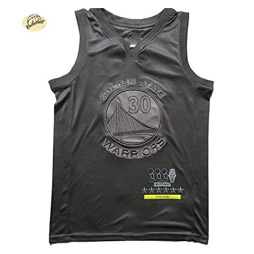 # 30 Golden State Warriors Basketball Trikots für Herren, Stephen Curry MVP Edition bestickte Weste, Jugendliche, atmungsaktives, bequemes Mesh-Sweatshirt (S-2XL) M Schwarz
