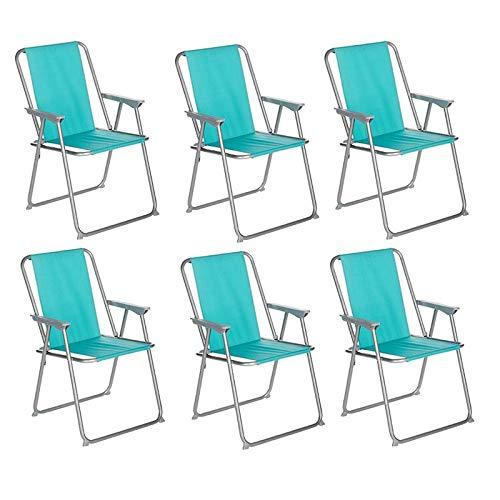 Paris Prix Côté Détente - Lot de 6 Chaises de Camping Pliantes Grecia 74cm Bleu