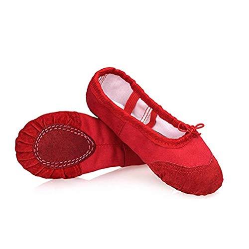 DoGeek Ballettschuhe Gymnastikschuhe Mädchen Tanzschuhe Damen Ballettschläppchen Ballerinas Kinder,Rot,29 (Bitte bestellen Sie eine Nummer grösser)